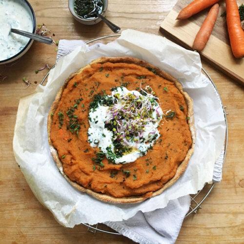 Karotten-Süßkartoffel-Quiche vegan