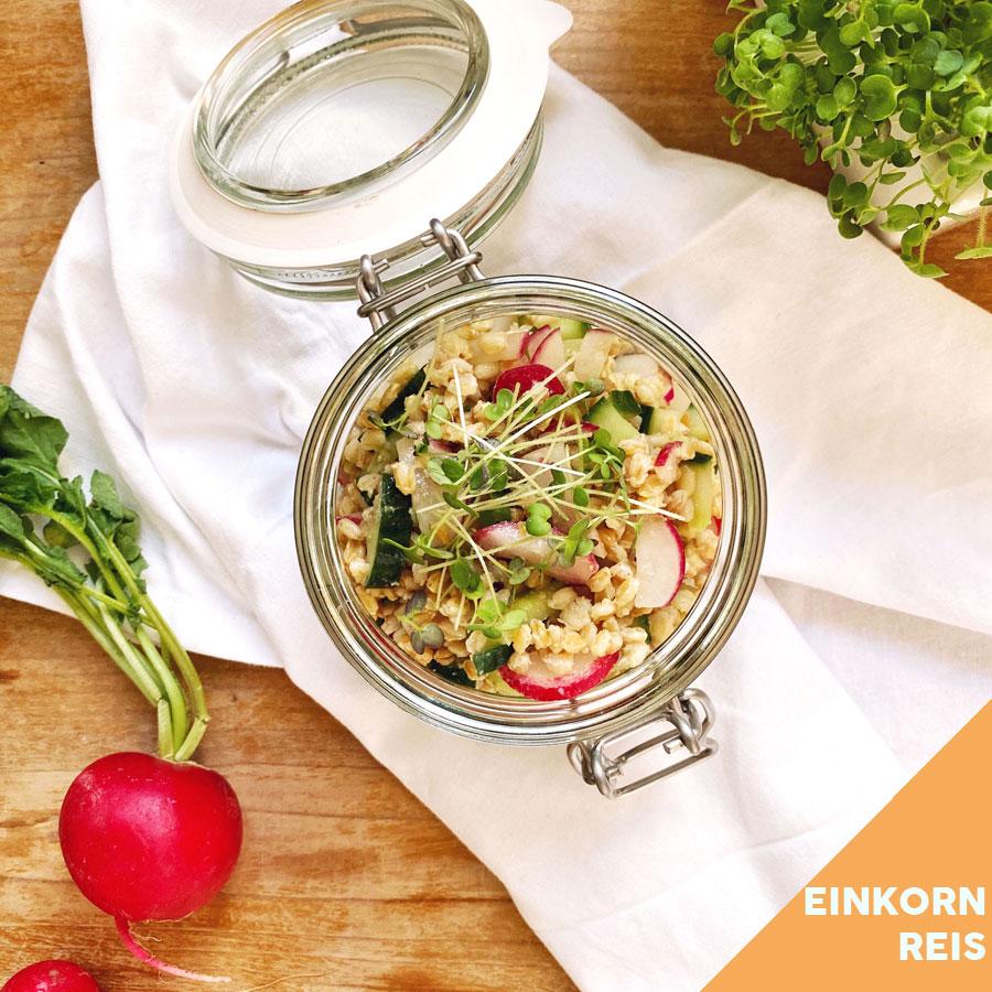 Radieschen Gurken Einkornreis-Salat